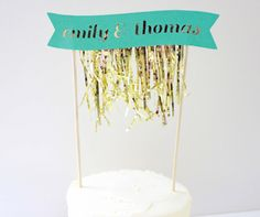 Gold Fringe Cake Banner // michiemay on Etsy // $18.99