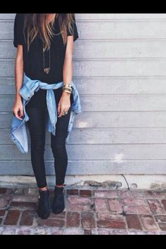 I have been loving denim and black lately..Hipster style