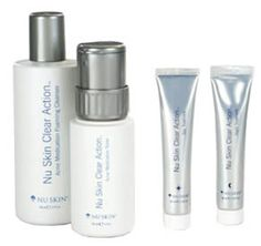 Nu Skin Clear Action System Nu Skin Clear Action is a gentle but effective treatment system designed to help manage the blemishes you have now, fade the signs of past breakouts, and, most importantly, keep skin clear and vibrant for the future Best Natural Skin Care, Anti Aging Skin Care, Moisturizer For Dry Skin, Acne Skin, Makeup Routine, Beauty Care, Beauty Tips, Face Care, Clear Skin