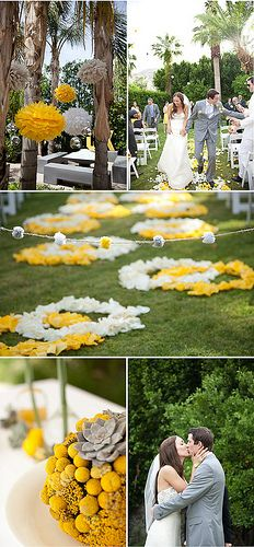 Hanging paper flowers for a cheerful wedding day.
