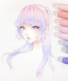This artist inspires me to blend different colored markers until it looks at least this good Copic Drawings, Anime Drawings Sketches, Anime Sketch, Kawaii Drawings, Manga Drawing, Manga Art, Cute Drawings, Anime Art, Marker Kunst