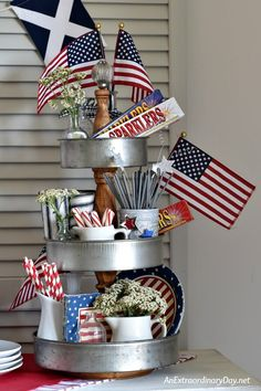 Show your red, white, and blue, with a Modern Farmhouse Tiered Tray all decorated for the 4th of July - AnExtraordinaryDay.net
