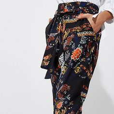 Black floral print tie waist tapered trousers - RI limited edition - sale - women
