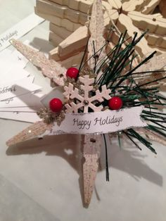 """spruced up the """"clothes pin"""" snowflake. Handmade Christmas Crafts, Christmas Ornament Crafts, Christmas Crafts For Kids, Christmas Art, Holiday Crafts, Christmas Holidays, Christmas Wreaths, Christmas Decorations, Snowflake Ornaments"""