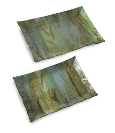IMAX Field of Dreams Trays - Set of 2. Like a picturesque scene from a classic novel, the set of three Field of Dreams trays evoke a sense of calmness with cool tones and wild grass silhouettes. Food safe.