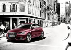 Paintwork: Shiraz red metallic. Wheel: Cast aluminium wheel in 5-arm polygon design.    www.m25audi.co.uk/audi/a1.html Red Audi, Audi A1 Sportback, Car Goals, Aluminum Wheels, Small Cars, Bugatti, It Cast, Urban Style, Jasmine
