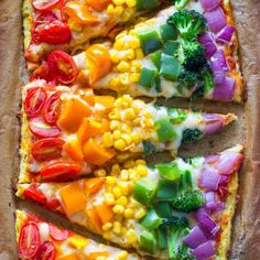 Arcobaleno di pizza httpwww.eatclean.comrecipes-how-tohealthy-color arcobaleno-foodsrainbow-pizzeria-con-cavolfiore crosta