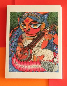 Ma Saraswathi painted by talented Bengali painter Dithi in her own inimitable style which adorns my home...