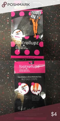 Footrollupz flats on the go -- comfortable shoes 1 pair of foldable flats. Sizes 5/6. Black. Walking around in heels and need a break? 👠 Roll up these flats and go. NEW and unopened. In original packaging. $4 or can come as a free gift with anything else you buy! Footrollupz Shoes Flats & Loafers