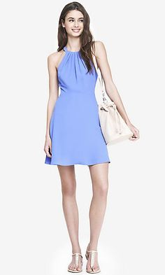 blue fit and flare halter dress