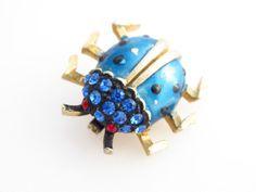 Vintage Enamel and Rhinestone Lady Bug Brooch by ERAtiqueJewels