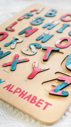Wooden Printed Name Puzzles. Develop motor skills. Montessori toys. Gift and amazing nursery decor.