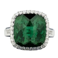 Green Tourmaline & Diamond Ring, 12.62 cts | From a unique collection of vintage wedding rings at http://www.1stdibs.com/jewelry/rings/wedding-rings/