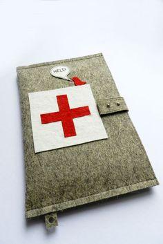 Geekery iPad Case Cover-Handmade iPad Felt Cover- Custom Size with Help, Red cross by Eszter Homokay / GrafoGraphic via Etsy