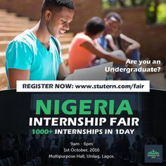 The Nigeria Internship Fair is a one-day event that would bring 1000 pre-screened undergraduates and graduate job seekers in a room with about 200 employers for immediate internship and employment opportunities.  Go register now! - October 1st is the date - SUPPORTED BY #Steevane #SV -