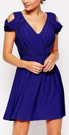 Drape Cold Shoulder Mini Dress in Navy