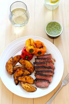Summer Steak Frites with Chimichurri Butter