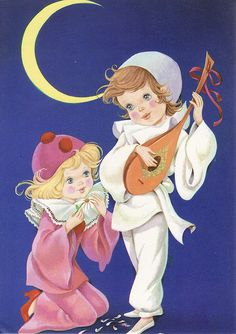 Vintage Postcard - Pierrot and Pierrette