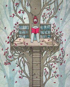 ebookfriendly:  Reading tree / art by Kuba Gornowicz...