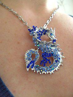 Gorgeous DragonNecklace Brooch BLUE silver Swarovski by kadootje77, £18.50