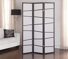Roundhill Furniture 3-Panel Screen Room Divider, Black