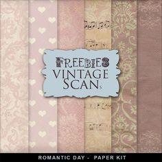 Far Far Hill Free Vintage Printables Background Kit Romantic Day