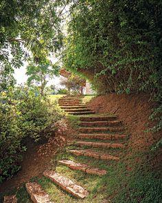 Caminho   Criado com blocos de granito rosa, o passeio começa na varanda e percorre todo o terreno. Em cima, maciço de jasmim-amarelo. Embaixo, azaleias (Foto: Gui Morelli)