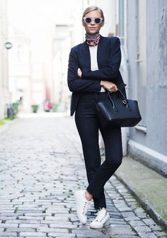 This blogger makes a suit look super chic