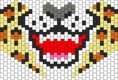 Tiger Mask by Symonsays on Kandi Patterns Kandi Mask Patterns, Pony Bead Patterns, Beading Patterns Free, Perler Patterns, Peyote Patterns, Kandi Cuff, Kandi Bracelets, Perler Bead Art, Perler Beads