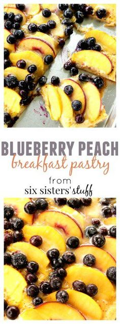 Blueberry Peach Breakfast Pastry from Six Sisters' Stuff | This amazingly fast and easy breakfast recipe takes under 25 minutes to prep and bake, and tastes delicious! amazingly easy and delicious Blueberry Peach Breakfast Pastry. It takes minutes to through together and bake