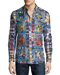 Limited Edition Plaid Sport Shirt with Embroidery, Multi by Robert Graham at Neiman Marcus.