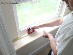 How To: Replace an Interior Window Sill - two purple couches