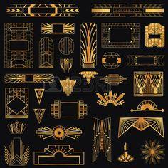 Art Deco Vintage Rahmen und Design Elemente Lizenzfreie Bilder