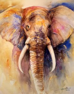 watercolor elephant - Original Fine Art for Sale - © Arti Chauhan Image Elephant, Elephant Love, Elephant Art, Elephant Paintings, African Elephant, Watercolor Animals, Watercolor Paintings, Painting Art, Watercolors