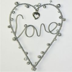 Silver 'Love' Hanging Heart with Hanging Hook Romantic Home Decor or Wedding Gift Present www.prettymaison.co.uk 01353 665141