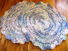 Rag Rugs  Crochet Handmade Oval  Pastels (SET of 2) Shabby Cottage Nursery  #Handmade