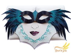 Gothic Mask Clutch bag Leather clutch Black wings by spiculdegrau