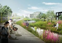 The Delta District in the future city Vinge is an example of how landscaping can create dual functions:  promote better communities and prevent flooding. A man-made delta and creeks handle rainwater and provide the city district with unique qualities for residents to gather around. The Delta District in Vinge is a former agricultural site and [...] → READ MORE