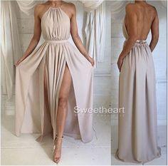 Simple A-line Backless Chiffon Long Prom Dresses, Formal Dresses