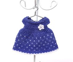Doll clothes miniature knitted dress for 3.5 - 4 inches dolls/Dollhouse dress with crochet flower, Dress for miniature doll by AnnaToys on Etsy