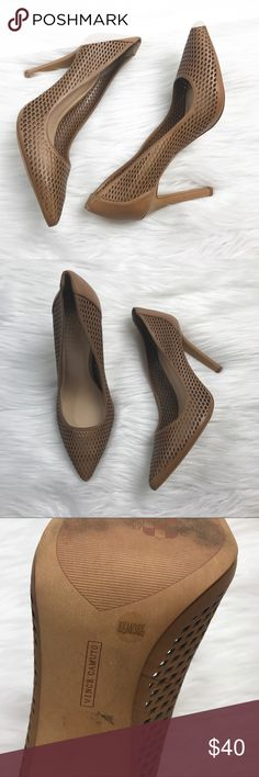 Vince Camuto laser cut nude pumps Size 8.5 in excellent condition, just one small scuff on back of heel shown in photo. *** no modeling or trades! Vince Camuto Shoes Heels