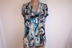 EAST 5TH Sz M Shirt Blouse Sheer Floral Pleats Short Sleeves Button Front #East5th #ButtonDownShirt #Career
