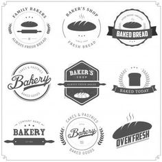 Illustration of Set of vintage bakery labels and design elements vector art, clipart and stock vectors.