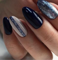 Black and Sparkle Nails