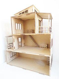 casa de muñecas moderna hecha en mdf