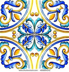 Find Italian Majolica Tiles Floral Ornament stock images in HD and millions of other royalty-free stock photos, illustrations and vectors in the Shutterstock collection. Tile Art, Mosaic Art, Tile Patterns, Pattern Art, Italian Pattern, Tuile, Italian Tiles, Illustration, Hand Painted Ceramics
