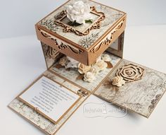 Tri Fold Cards, Folded Cards, Creative Crafts, Diy And Crafts, Exploding Box Card, Up Book, Pop Up Cards, Wedding Decorations, Projects To Try