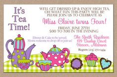 12 Personalized Printed Girl Tea Party High Tea Birthday Invitations with envelopes