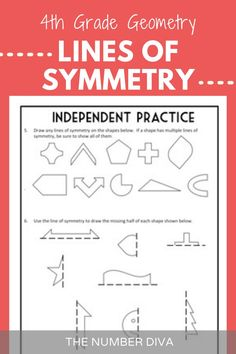 Lines of Symmetry, 4th Grade Geometry Math Lessons/ Worksheets + Quiz. This complete lesson packet includes everything you need to give students a deep understanding of lines of symmetry in a fun and engaging way. Aligned with CCSS 4.G.A.3. - The Number Diva #4thGradeGeometry #4thGradeMath #Geometry4thGrade #LinesofSymmetry #TheNumberDiva