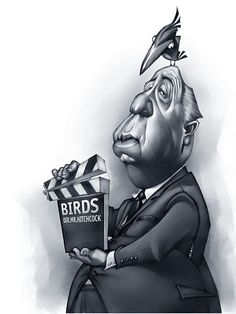Alfred HITCHCOCK caricature, by Vladymyr Lukash